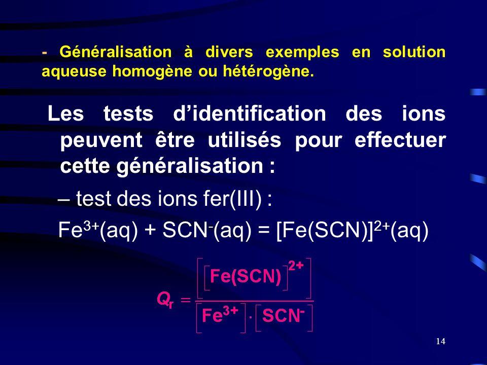 test des ions fer(III) : Fe3+(aq) + SCN-(aq) = [Fe(SCN)]2+(aq)